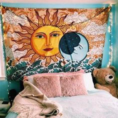 Shop our Sun & Moon Tapestry and add a bohemian touch to your living room. Mixing sun and moon together represents balance and harmony. Space Tapestry, Tapestry Bedroom, Bohemian Tapestry, Bohemian Decor, Wall Tapestry, Trippy Tapestry, Bohemian Room, My New Room, My Room