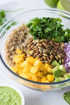 Mango-Avocado Quinoa Salad with Toasted Pepitas (served with Creamy Dairy-Free Cilantro Jalapeño Lime Sauce) Gluten-free, vegan, nut-free, allergy-friendly, refined sugar-free Healthy Snacks, Healthy Eating, Healthy Fats, Avocado Quinoa, Dairy Free Quinoa Salad, Mango Quinoa Salad, Quinoa Salad Recipes, Avocado Recipes, Whole Food Recipes
