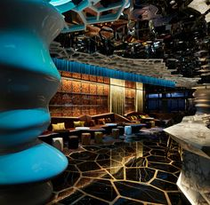 """Themed around an """"Edenic Experiment"""" - a man-made environment of nature in an imaginary world - Katayama has boldly lashed together expensive materials, cutting-edge lighting and decadent furnishings in a kind of Marcel Wanders' dreamworld meets Star Trek style..."""