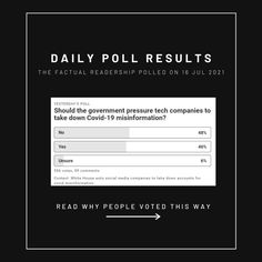 💭 The White House asked social media companies to take down accounts for COVID misinformation. We asked 556 people: Should the government pressure tech companies to take down COVID-19 misinformation? Opinion Poll, Poll Results, Movie Black, Political Spectrum, Social Media Company, Do You Believe, Self Driving, Why People, News Media