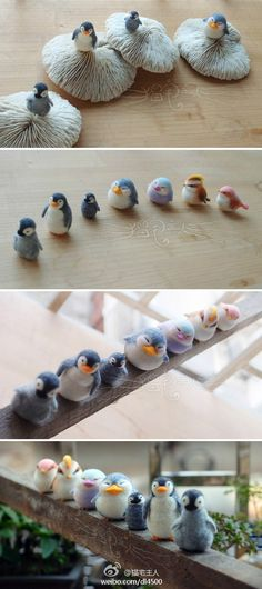 Look at all the color combinations, charictarizations, and proportions on these awesome penguins! Each one is definitely unique. Needle Felted Animals, Felt Animals, Nuno Felting, Needle Felting, Resin Crafts, Diy Crafts, Felt Penguin, Felted Wool Crafts, Felt Birds