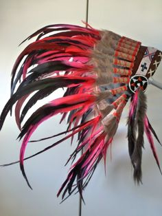 For Kid / Children: red  Chief indian Feather Headdress with red yarn / native american Warbonnet for the little ones