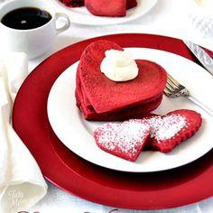 Red Velvet Cream Cheese Pancakes