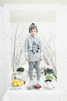 Magical forest creatures are a feature for the illustrative prints at Hebe fall 2014 kids fashion