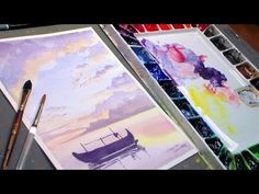 Fishing Boat Watercolor Sunset {REAL TIME painting tutorial} - YouTube