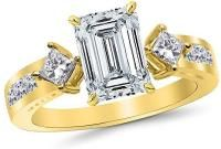 2.85 Ctw 14K Yellow Gold GIA Certified Emerald Cut Channel Set 3 Three Stone Princess Diamond Engagement Ring