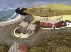Very popular with tourists and artists, a small group of fisherman's cottages situated at the back of the beach. Some that were closer to the sea have been washed away. I have painted various images over the years as you will find in this print catalogue. Contemporary Landscape, Landscape Art, Landscape Paintings, Graphic Eyes, French Artists, British Artists, Drawing Techniques, Drawing Tips, Plant Drawing