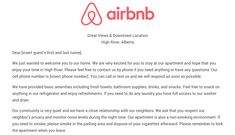 Download the Airbnb Welcome Letter Template As Airbnb hosts we recommend creating an Airbnb welcome letter that you leave out for your Airbnb guests upon their arrival. An Airbnb welcome letter is simply a one or two page document that provides an overview of your listing, contact information, house rules, local attractions, and …