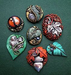 Art: Fall Assorted Cabochons Polymer Clay by Artist Christina A Kapono