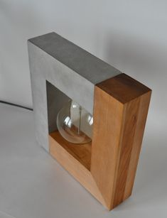 Large Handmade Concrete and Wood Table Lamp