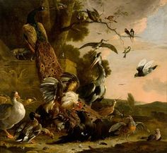 Details: Melchior d' Hondecoeter, The Raven Robbed of the Feathers He Wore to Adorn Himself, 1671