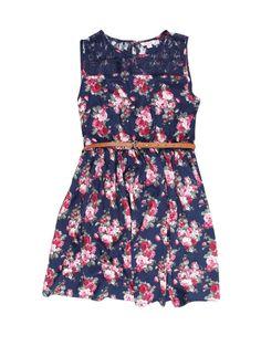 Older Girls Floral Woven Dress   Peacocks £9.60