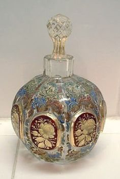"Antique Vintage Perfume Scent Bottle Enamel Gold Gilt Intaglios. Height 3-3/4"" including stopper."
