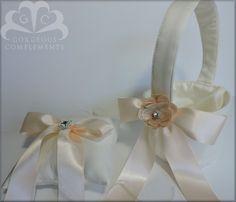Aurora-Flower Girl Fabric Basket and Ring Bearer Pillow SET