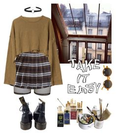 """Untitled #147"" by alduque ❤ liked on Polyvore featuring Bitching & Junkfood, French Toast, Zara, Dr. Martens and Mason's"