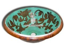Hand Painted Copper Vessel Sink Round 'Roses' by Terra Artesana