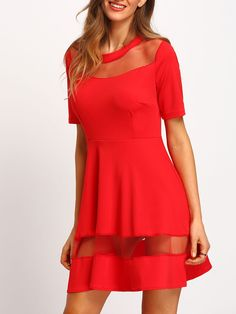 Red+Short+Sleeve+Sheer+Mesh+Dress+16.99