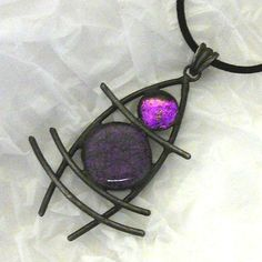 Dichroic Glass Wired Pendant and Necklace