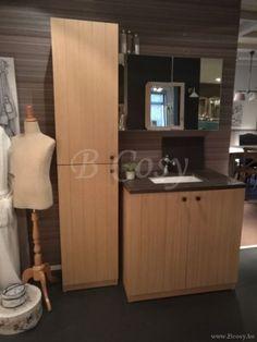 ll-bath-045w-landelijke cottage stijl badkamerkast 1 persoon met arduinen wastablet wastafel en white washed eik