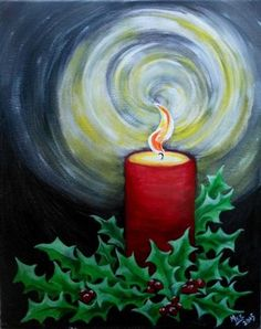 Really easy Christmas painting, holly berries and candle painting.