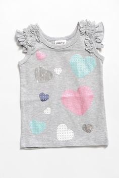 Gorgeous litte Heart Sleeveless Top with frills in soft cotton material.  Recommend matching with Knit shorts in Pastel Pink & Beautiful Soles MJs Snow White or Fairy Floss! Too cute! Love it!