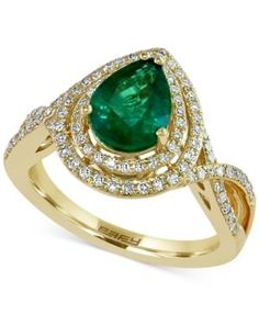 Brasilica by Effy Emerald (1-1/6 ct. t.w.) and Diamond (3/8 ct. t.w.) Ring in 14k Gold - Green