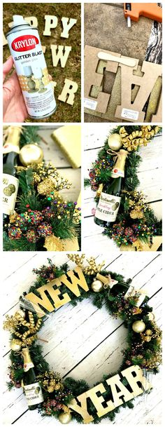 Make your own holiday wreath celebrating New Year's Eve with DIY - perfect how to make your own wreath tutorial with step by step picture instructions