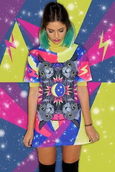 Super cute cats take an intergalactic trip to space! This tee is a must for cat lovers. Wear with our matching leggings for a cat-tastic co-ord outfit! Unisex all over print t-shirt (printed front and back). Designed and printed in the UK. Festival Outfits, Festival Fashion, Co Ords Outfits, Super Cute Cats, Cat Leggings, Skirt And Top Set, Shirt Outfit, T Shirt, Costumes For Teens