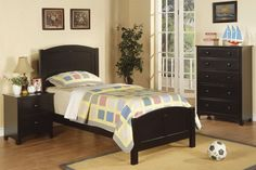 Poundex 3pc Ben Black Twin Bed Set - @ Home Furnishings of Florida Corp