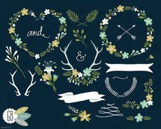Folk flower wreaths clip art antlers vector by GrafikBoutique