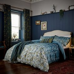 Goosegrass is a stunning print designed by Clarissa Hulse, a designer who takes pattern inspiration from nature. The 100% cotton bedlinen features a highly-detailed botanical leaf print of wild goosegrass stems, Single Bedroom, Gold Bedroom, Bedroom Bed, Bedrooms, Blue Curtains, Lined Curtains, Bed Linen Sets, Duvet Sets, Bed Linen Design
