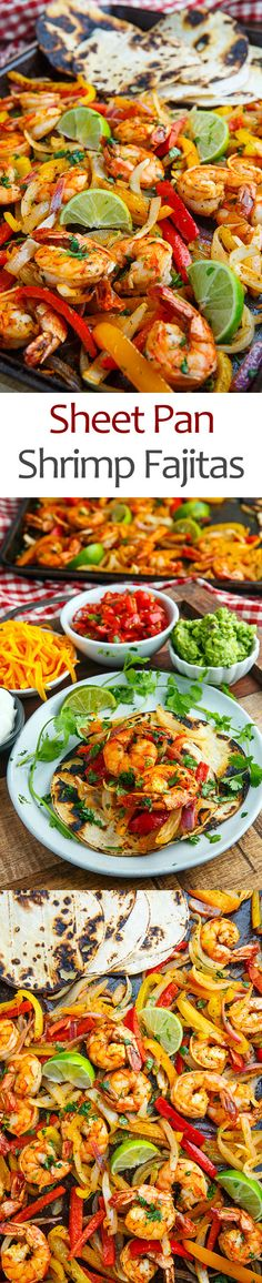 Sheet Pan Shrimp Fajitas The quickest and easiest shrimp fajitas, where everything is baked on a sigle sheet in the oven! Seafood Recipes, Mexican Food Recipes, Dinner Recipes, Cooking Recipes, Healthy Recipes, Seafood Boil, Healthy Foods, Shrimp Fajita Recipe, Shrimp Fajitas