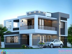 Front elevation rendering of 1975 square feet modern home House Front Wall Design, House Roof Design, 2 Storey House Design, Duplex House Design, Facade House, House Design Photos, Best Modern House Design, Modern Exterior House Designs, Modern House Facades