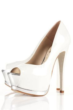 SERENADE2 Peep Toe Platform Shoes  Off white leather patent peep toe shoes with statement silver platform.