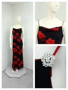 Vintage 90s Black and Red Floral Long Formal by SprightlyVogue, $43.00