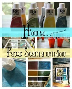 How to faux a window stained glass with Mod podge and Rit dye. i HAVE got TO TRY THIS!!