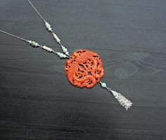 Red Jade Necklace with pearls and emerald by SaruchiRJewellery
