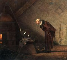 Alchemist old postcard, year scanned at 600 dpi (please, check quality in full resolution), autho Carl Spitzweg - Der Alchimist Art And Illustration, Der Alchemist, Carl Spitzweg, Esoteric Art, Art Database, Old Postcards, Science Art, Art Reproductions, Paintings For Sale