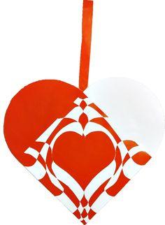 Fransk Barok | Julehjertedesign.dk: skabeloner til flotte og unikke julehjerter til juletræet. Traditional Danish Christmas hearts for unique paper art.