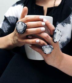 bold black and white statement ring // dendritic opal in a custom handmade setting #meganaumanjewelry