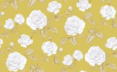 Countess Mustard (50-182) - Graham and Brown Wallpapers - Countess, beautifully depicted design with shimmering highlights, this romantic flourishing rose trail epitomises vintage-glamour. showing in Pink on pearl - other colour ways available. Please request a sample for true colour match.