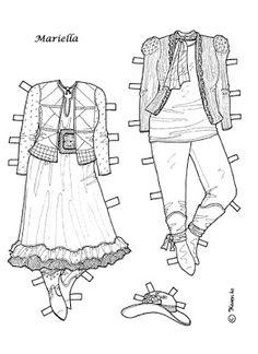 Karen`s Paper Dolls: Mariella 1-4 Paper Doll to Colour. Mariella 1-4…