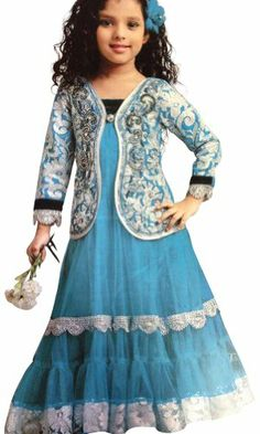 Indian Party Wear Dresses For Little Girls Indian Dresses For Girls, Kids Indian Wear, Indian Party Wear, Little Girl Dresses, Indian Outfits, Girls Dresses, Indian Baby, Frocks For Girls, Kids Frocks