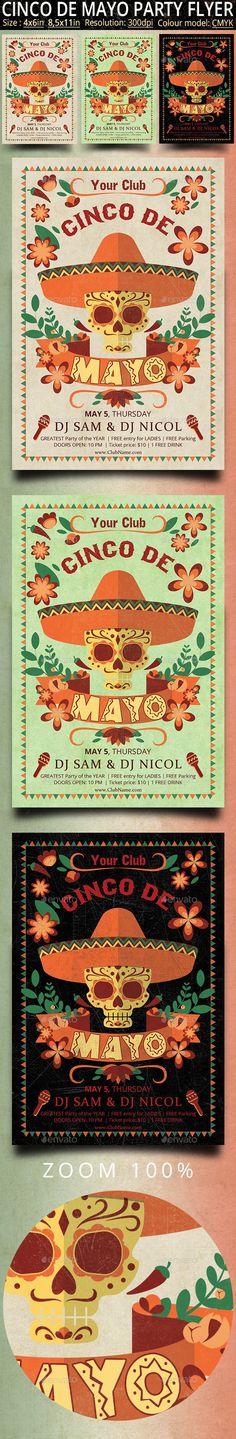 Cinco de Mayo Retro Vintage Flyer — Photoshop PSD #carnival #flyer • Available…