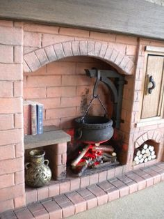 Barbie Doll House Kitchen Fireplace 1:6 Scale Colonial Tudor