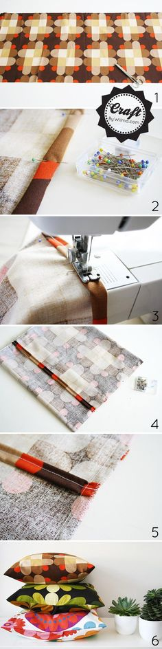DIY Easy peasy pillow covers DIY pillow - Great way to reuse any pillows that you want to change up.  It will save ya some $$
