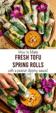 The BEST Vegan Fresh Tofu Spring Roll Recipe with a peanut dipping sauce! These Vietnamese vegetarian Summer rolls are filled with crispy salt Vegan Rice Paper Rolls, Rice Paper Spring Rolls, Rice Paper Recipes, Recipe Paper, Vietnamese Rice Paper Rolls, Rice Rolls, Vegan Lunch Recipes, Tofu Recipes, Wrap Recipes