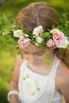 Flower Girl Wears a Flower Crown | A. Blake Photography | http://knot.ly/6498BL096 | http://knot.ly/6499BL09B