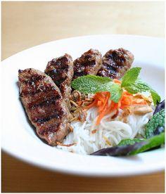 Bun Nem Nuong (Vietnamese Vermicelli with Grilled Pork Patties) Recipe via Ravenous Couple