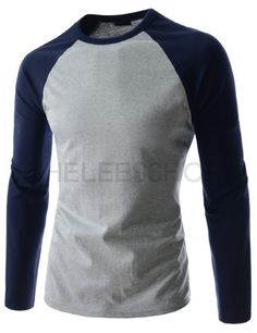 (RDLT24-GRAYNAVY) Mens Casual Slim Fit Two-Tone Round Neck Long Sleeve Cotton Tshirts